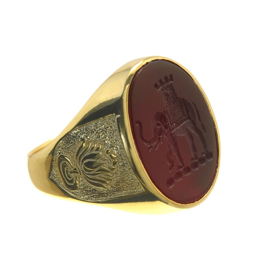 A Red Agate Elephant Family Crest Sealing Ring With Lotus