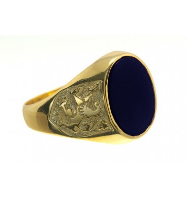 Black Onyx Lion of Scotland Gold Plated Silver Ring