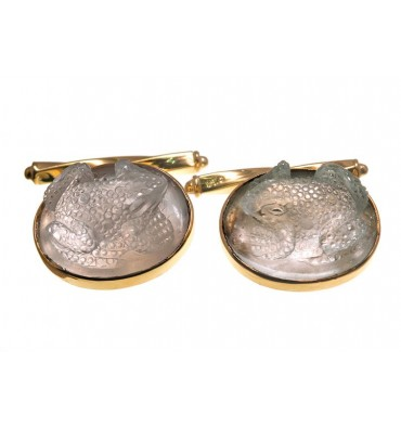 Rock Crystal Frog Cufflinks -Gold Plated Silver