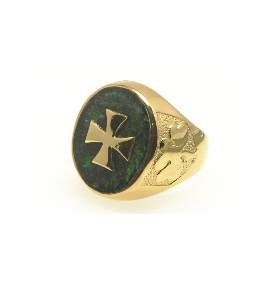 A Jade Templar Cross And Shamrock Cross Ring
