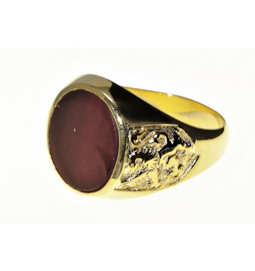 Red Agate Lion of Scotland Gold Plated Sterling Silver Heraldic Ring