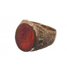 Red Agate George Washington Gold Plated Sterling Silver Ring