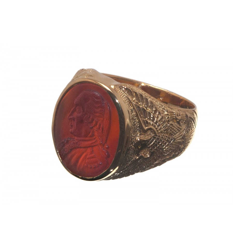 A Red Agate Commemorative George Washington And Eagles