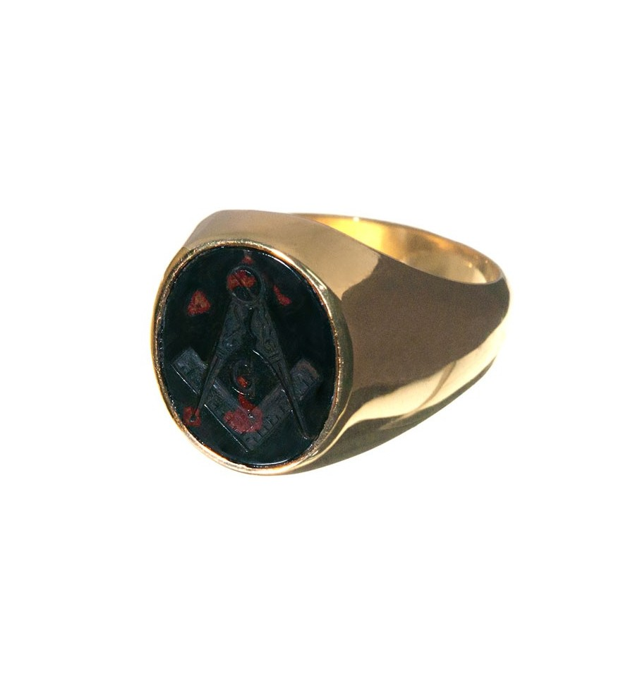 Bloodstone Gold Plated Silver Masonic Ring