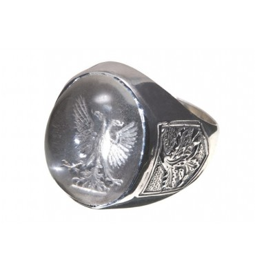 Rock Crystal Family Crest & Oak Leaf Clusters Sterling Silver Crest Ring