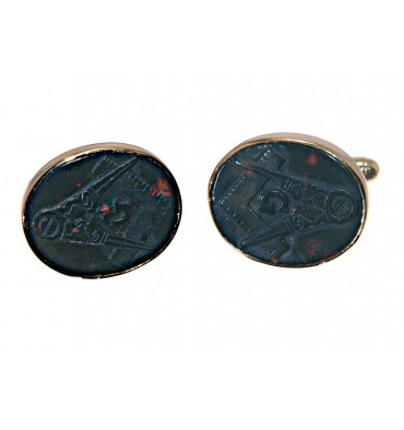 Bloodstone Sculpted Masonic Cuff Links - Gold Plated Silver