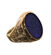 Amethyst Lion Regardent & Three Lions of England Gold Plated Sterling Silver Signet Ring