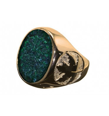 8f4dbf808b A Green Man Sculpted Stone Ring With Maple Leaf Shoulders