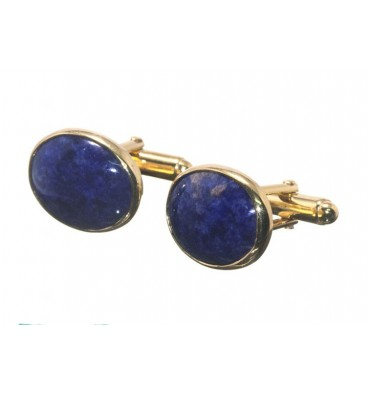 Sodalite Small Oval Swivel Cufflinks - Gold Plated Silver