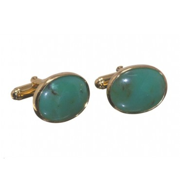 Chrysoprase Traditional Oval Gold Plated Silver Cufflinks