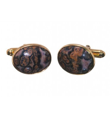 Jasper Leopard Spot Traditional Ovals Gold Plated Silver