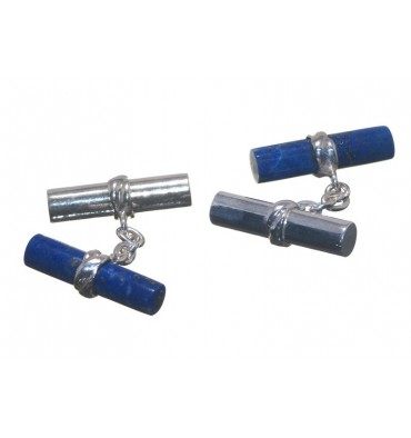 Lapis Lazuli Mixed Doubles Silver Cuff Links