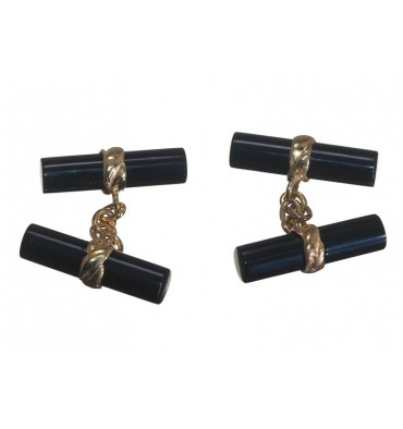 Black Onyx Cylindrical Imperial Double Gold Plated sterling Silver Cufflinks