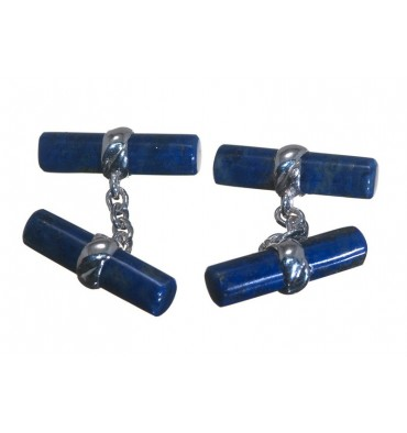 Sodalite Double Cylinder Imperial Cufflinks Sterling Silver