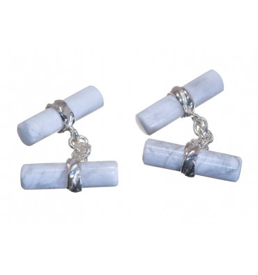 Howlite Cylindrical Imperial Double Cufflinks- Sterling Silver