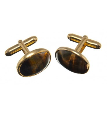 Tigers Eye Traditional Oval Cufflinks- Gold Plated Silver