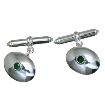 Emerald Gemstone Cuff Links set in Sterling Silver