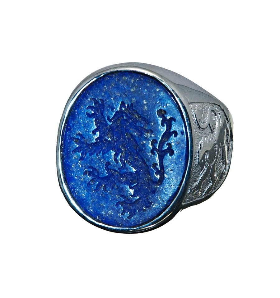 A Signet Or Seal Ring Featuring A Heraldic Lion And Lion