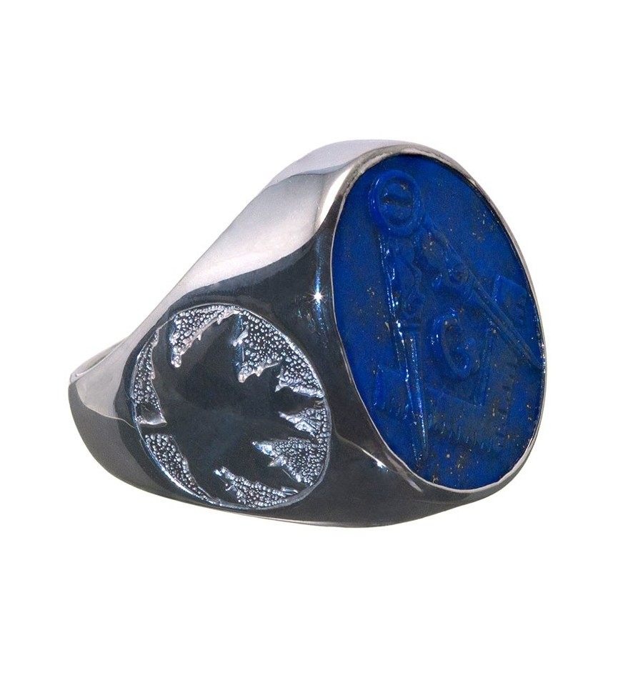 A Canada Flavoured Masonic Ring Featuring The Set Square