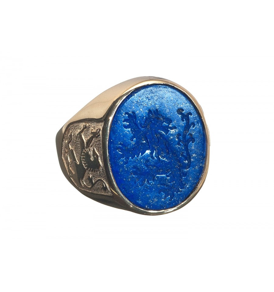 A Lapis Seal Or Signet Ring Featuring A Heraldic Lion To
