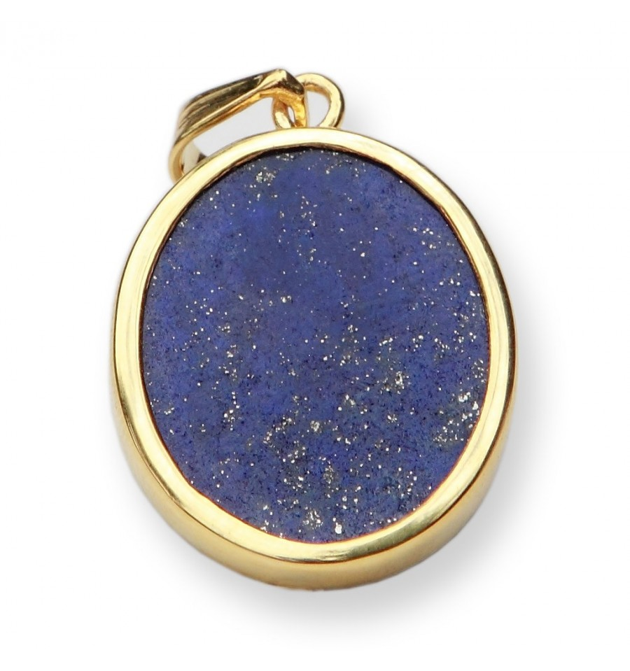 Lapis Green Man Gold Plated Sterling Silver Pendant