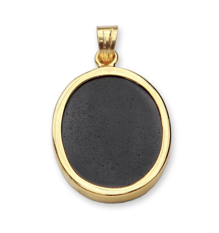black onyx wolf gold plated sterling silver pendant