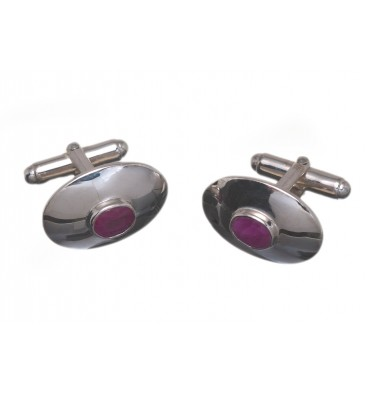 1.5 Carat Ruby Gemstone Cuff Links set in Sterling Silver