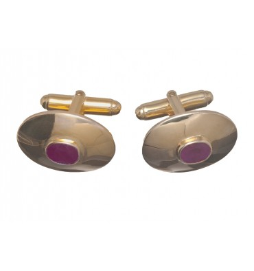 1.5 Carat Ruby Gemstone Cuff Links-Gold Plated Silver