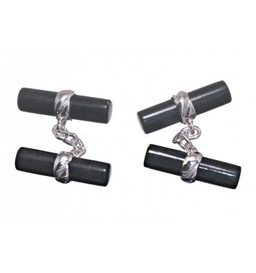Black Jade Imperial Double Cylinder Cuff Links - Sterling Silver