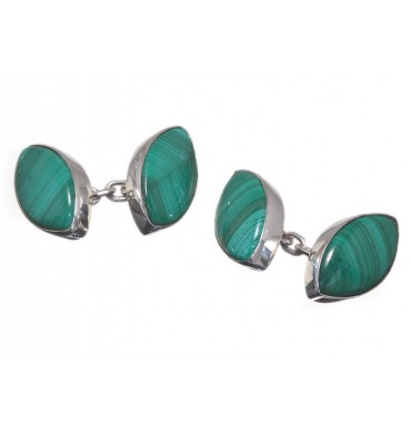 Malachite Lozenge Double Cufflinks - Sterling Silver