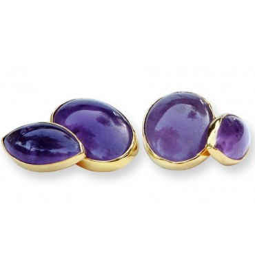 Amethyst Oval and Lozenge Cuff links - Gold Plated Silver