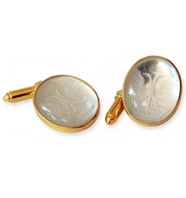 Rock Crystal Heraldic Sub Engraved Gold Plated Sterling Silver Cufflinks