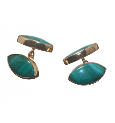 Malachite Lozenge Double Cufflinks - Gold Plated Silver