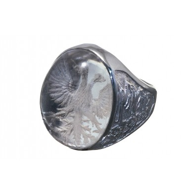 Rock Crystal Salisbury Eagle & Three Lions Sterling Silver Family Crest Ring