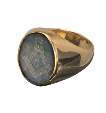 Jade Set Square & Compass Gold Plated Sterling Silver Masonic Ring