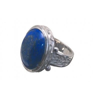 Lapis lazuli Byzantine Style Sterling Silver Ring