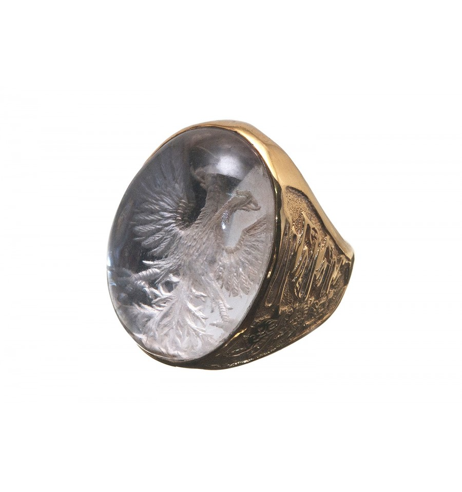 A Substantial And Imppressive Rock Crystal Family Crest Stone Ring