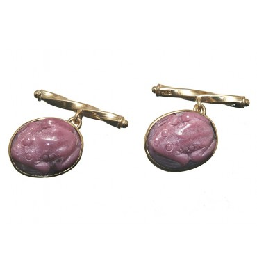 Rhodonite Chain & Shank Frog Cufflinks-Gold Plated Silver