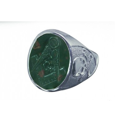 Bloodstone Sculpted Masonic Skull & Crossbones Sterling Silver Stone Ring