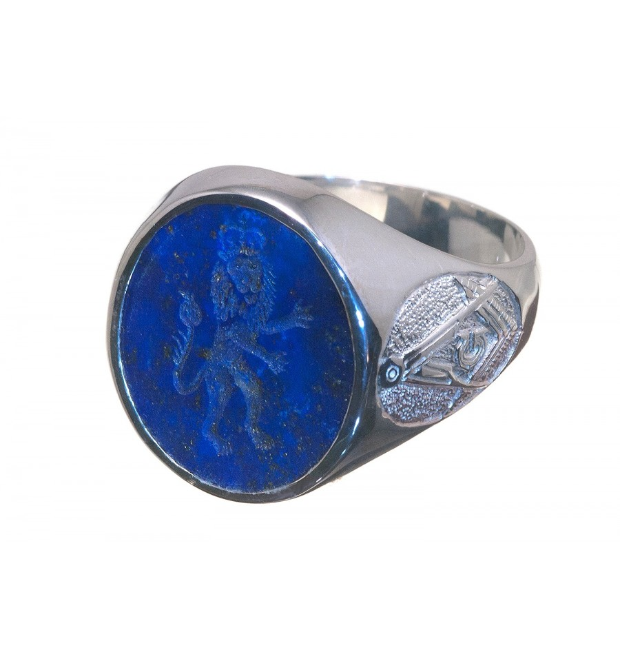 Lapis Lazuli Royal Lion And Masonic Sterling Silver Seal