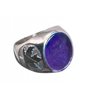 Amethyst Sculpted Griffin & Maple Leaf Sterling Silver Stone Ring