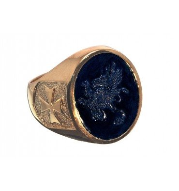 Black Onyx Griffin Amp Maltese Cross Gold Plated Sterling Silver Heraldic Stone Ring