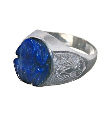 Lapis Carved Frog & Lotus Blossom Sterling Silver Stone Ring