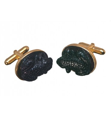 Black Agate Frog Cuff links - Gold Plated Silver Swivels