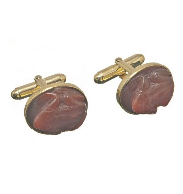 Red Agate Frog Cuff links - Gold Plated Silver Swivels