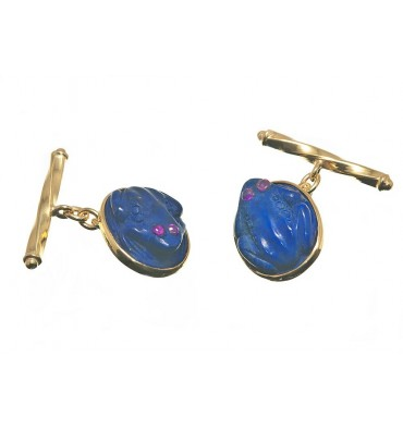 Lapis Lazuli Ruby Eyed Frog Cuff Links - Gold Plated sterling Silver