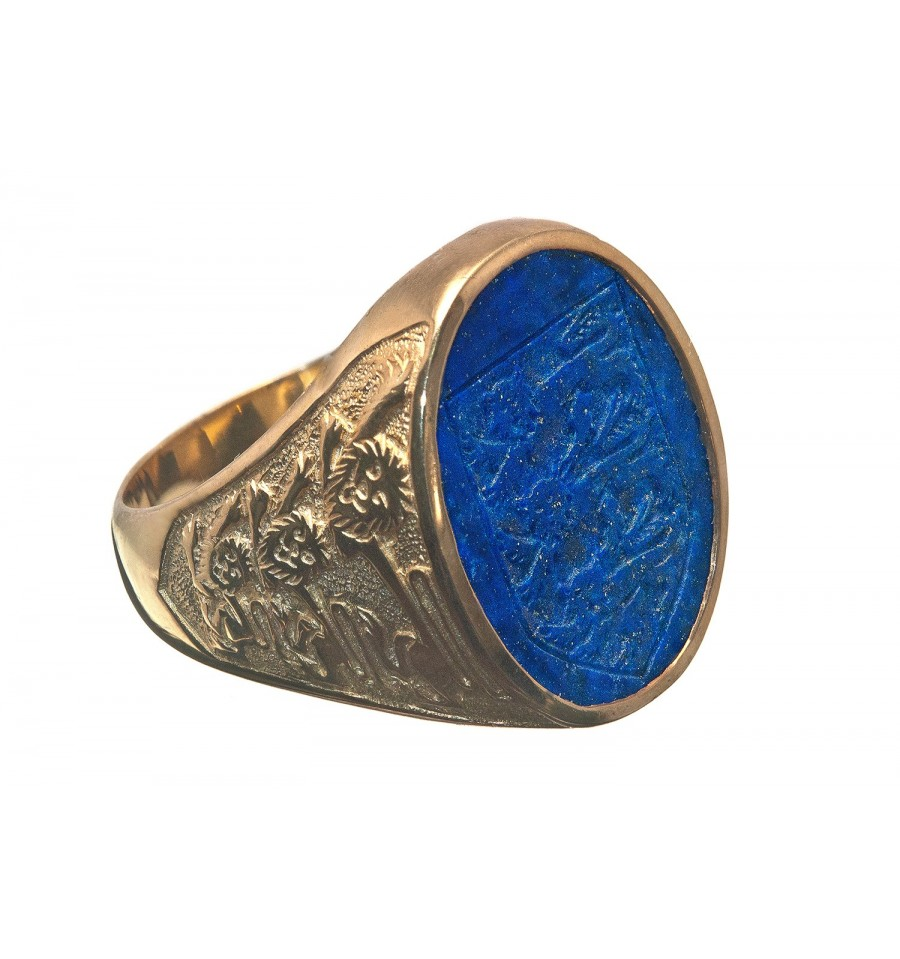 Lapis Heraldic Shield Amp Three Lions Gold Plated Sterling
