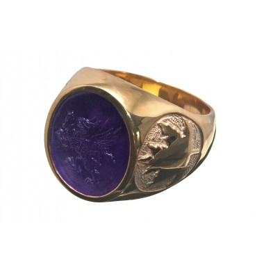 Amethyst Gryphon & maple Leaf Gold Plated Sterling Silver Stone Ring