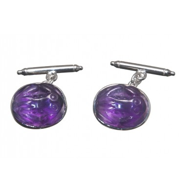 Amethyst Frog Chain and Baton Cufflinks-Sterling Silver