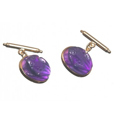 Amethyst Frog Chain and Baton Cufflinks-Gold Plated Silver